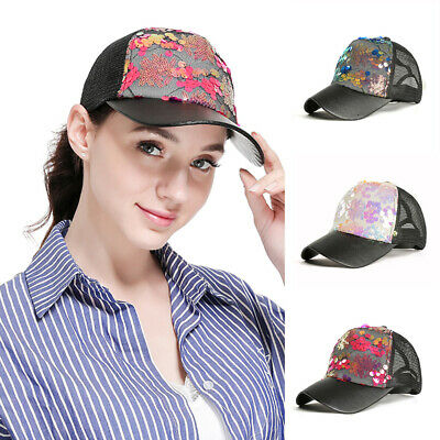 7a22fa08df1cd Rhinestone Baseball Cap Glitter Sequin Sparkly Bling Women Summer Hat Sun  Lady
