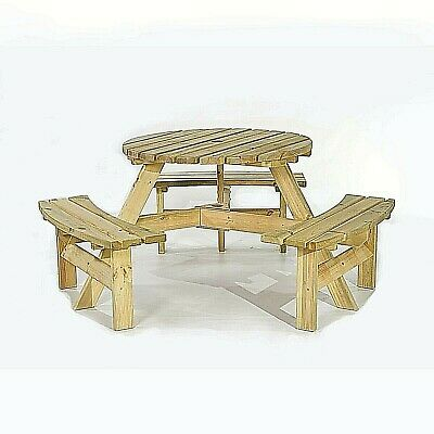 Wondrous Picnic Pub Bench 6 Seater Round Wooden Garden Table Thick Gmtry Best Dining Table And Chair Ideas Images Gmtryco