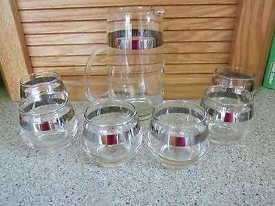 Mid Century Brandy cognac snifter Cocktail set pitcher w/ 6 silver band glasses