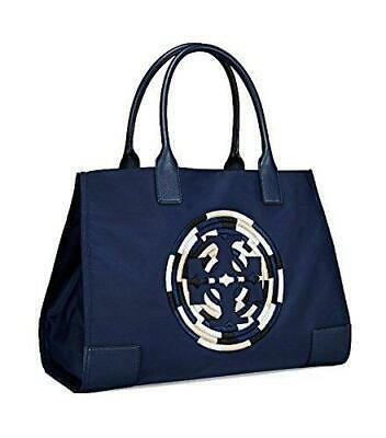 Tory Burch Ella Rope Large Nylon Tote Bag French Navy Gold