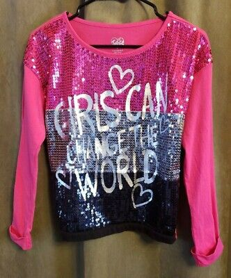 b94cd0d4 Girls Justice Sequin Shirt Girls Can Change The World Size 16 Color Block