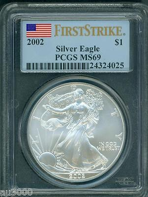 2002  American Silver Eagle ASE S$1 PCGS MS69 MS-69 FIRST STRIKE FS !!!
