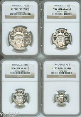 1999-W 4-coins SET PROOF PLATINUM EAGLE STATUE of LIBERTY NGC PR70 PF70 !!!