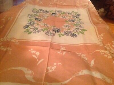 "Vintage collectible linen tablecloth 52"" white with pink"