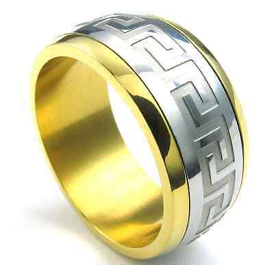Hot 316L Stainless Steel Great Gold&Silver Wall design Cool Womens Mens ring
