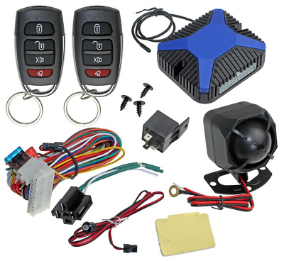 Car Alarm Security & Keyless Entry System, Trunk Pop With Two 4-Button Remotes