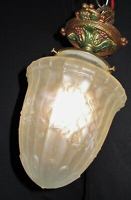 Vtg Deco Era Slip Semi Milk Glass Shade Chandelier Ceiling Fixture Pendant 30's
