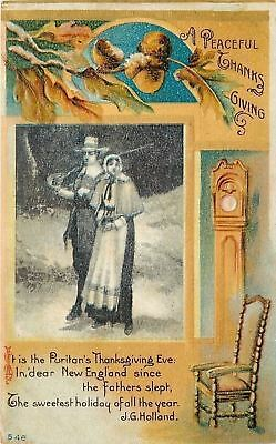Thanksgiving Eve~Puritan New England~Acorns~Grandfather Clock~Holland Poem~Embos