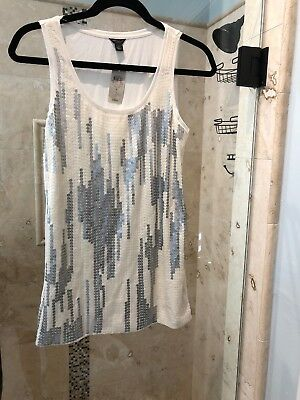cf7df3c4d76f7a New NWT Ann Taylor Tank Top Small S Ivory White Gray Stripes With Sequins