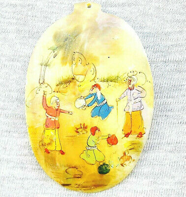 "Oriental Antique Hand Painted Miniature ""Epic Scene"" on Mother of Pearl Pendant"