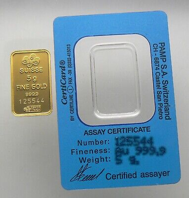 "5 Gram ""gold Dream"" Pamp Suisse 24K Gold Bar .9999 Bar #125544"