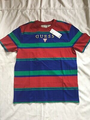 274990a4cf NWT GUESS USA Striped T-shirt Mens Small Blue/green /red - $26.00 ...