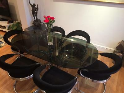 ITALIAN 1970's BESPOKE ARCHITECTURAL  DINING  TABLE AND CHAIRS TABLE.RIZZO ZEVI