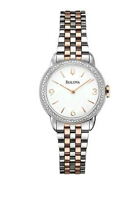 Bulova Women's 98R182 Quartz Diamond Accents Two-Tone Bracelet 29mm Watch