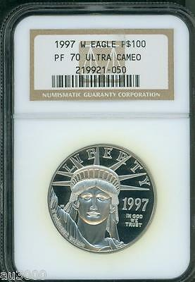 1997-W $100 PLATINUM EAGLE STATUE OF LIBERTY  1 Oz. NGC PF70 PROOF PR70 CAMEO !!