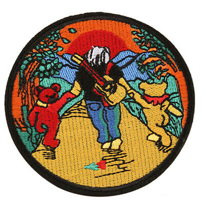 GRATEFUL DEAD Iron / Sew On Patch : Jerry Garcia with Bears : Embroidered Badge