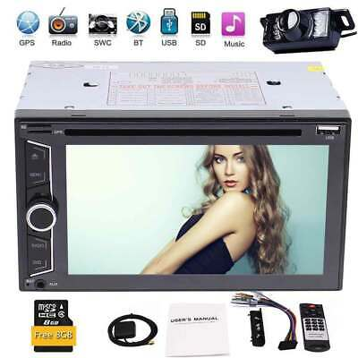 GPS Navigation Double Din In Dash Car DVD Radio Stereo Player Bluetooth + Camera