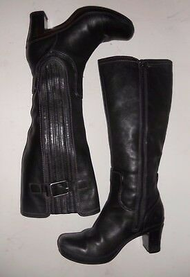 Women's Clarks Artisan Soft & Comfy Black Leather Casual Knee High Boots Sz 6.5