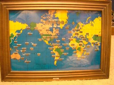Vintage Howard Miller World Time Zone Map Lighted Wall Clock Large 4625
