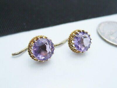 Antique Victorian Etruscan 14K Yellow & Round Facet Cut Amethyst French Earrings
