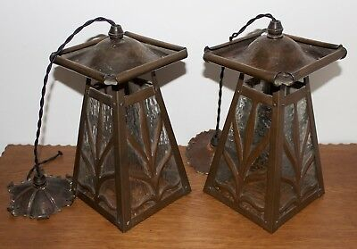 Pair Antique Art Nouveau Arts And Crafts Copper Lanterns Ceiling Lights