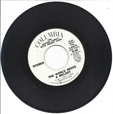 🎵 45 RPM Johnny Cash Carter Family The World Needs a Melody Columbia PROMO 7""
