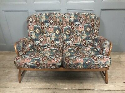 Ercol Jubilee Golden Dawn Stick Back Two Seater Sofa