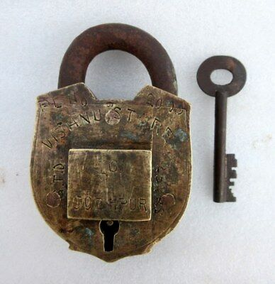 Vintage Old Rare Hand Crafted Solid Brass Heavy Tricky Key Hole System Padlock