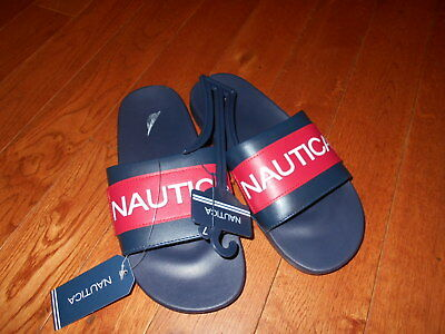 4f6a7da1c2d2b NWT NAUTICA ALTAIR Slide Sandals w/ Logo Men's Navy red NEW Shoes Beach  SEXY 7