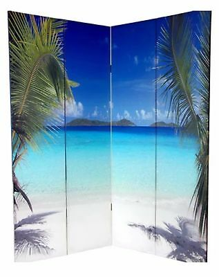 Dorm Room Divider Balcony Four Panel Screen Ocean Beach House Coastal Tropical