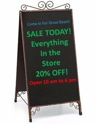 A-Frame Sidewalk Chalkboard Easel Magnetic Menu Board Antique Finish Sign Stand