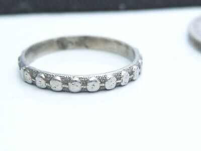 Beautiful Antique Art Deco era Solid 10K White Gold Emboss Baby Ring Band