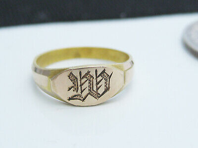 Beautiful Antique Art Deco era Solid 10K Yellow Gold Engraved Baby Ring Band