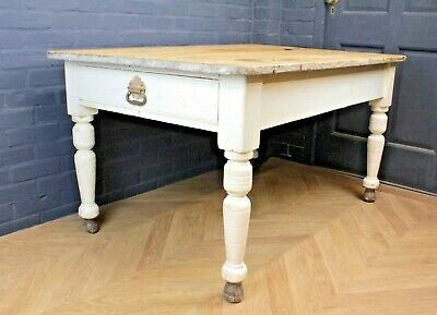 Antique Victorian Pine Reclaimed Farmhouse Country House Kitchen Dining Table