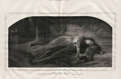 OLD ANTIQUE 1875 LARGE ENGRAVED ART PRINT ROMEO AND JULIET by JAMES BERTRAND d9