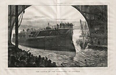 OLD ANTIQUE 1875 LARGE ENGRAVED PRINT SHIP LAUNCH OF THE ALEXANDRA AT CHATHAM d9