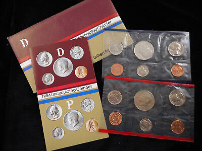 1984 United States Mint Uncirculated Coin Set P & D w/ Original Envelope Papers