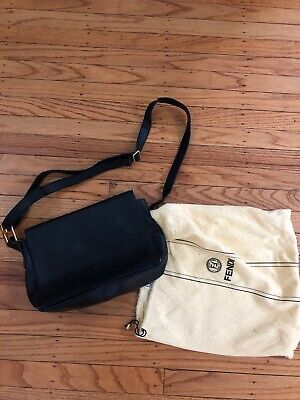 de5df3d566e3 Authentic Vintage FENDI black Leather crossbody purse shoulder bag