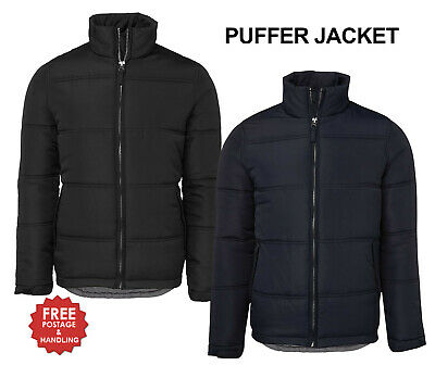 Puffer Jacket Zip up adults black navy quilted size 12-5XL black navy mens women