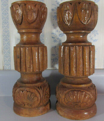2 Vtg. MCM Carved Tiki Pillar Wood Candle Holders Heavy Teak 12 In. Tall Witco?