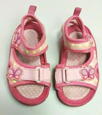 WALKRIGHT GIRLS Shoes SANDALS Size 7 Pink Floral Butterflies