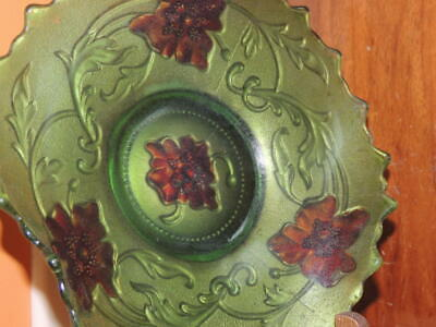 """Antique 7"""" Goofus Glass Bowl Green Poppy pattern Gold Red relief embossed EAPG"""