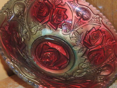 """Antique 9"""" Goofus Glass Bowl Double Rose pattern Gold Red relief embossed EAPG"""