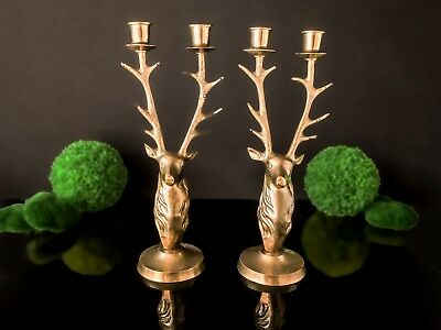 Brass Antler Candle Holders Deer Buck Stag Head Large Candle Holders