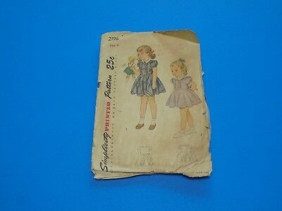 Vintage 1940s Sewing Pattern Girls Dress Puff Sleeve Size 4 Simplicity 2196