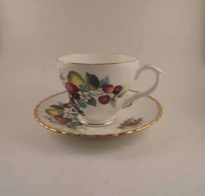 Rosina Saucer & Duchess Footed Cup Fruit & Berries Pattern Bone China