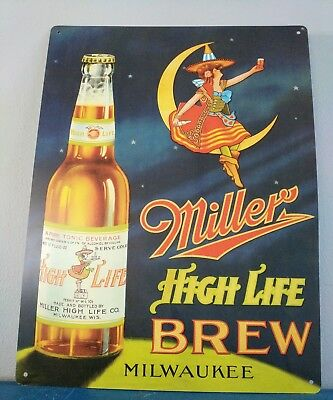 (L@@K) Miller High Life Beer Girl On The Moon Tin Sign Game Room Man Cave
