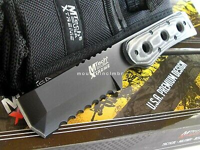 MTech Xtreme Chisel Tip Razor Serrated Fixed Blade Full Tang Micarta Hdl Knife