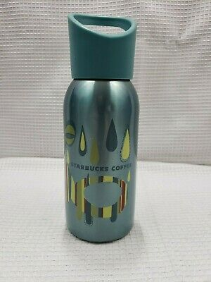 2009 Starbucks 12 Ounce Stainless Cold Drink Bottle Tumbler Teal Green Brown