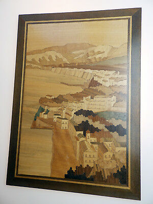 Vintage Treen a Good Marquetry Inlaid Wooden Panel of a Fishing Village C.20thC